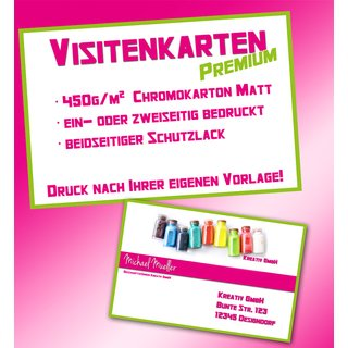 Visitenkarten 450g Chromokarton Matt Ein Oder Zweiseitig Nach Ihrer Vorlage