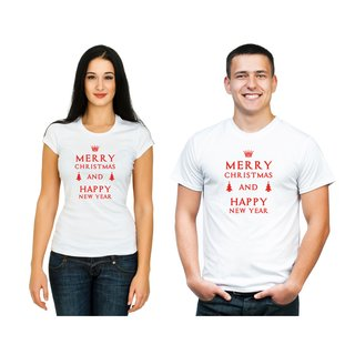 Motto T-Shirt Merry Christmas & Happy New Year